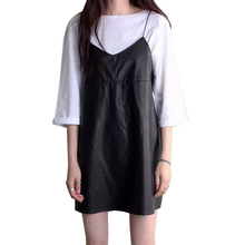 PU Leather Women Dresses Halter Spaghetti Strap Vestidos Solid Black Dress V Neck 2017 Spring Mini Robe Female New Fashion Dress(China)