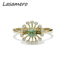 LASAMERO Round Cut 0.17ct Natural Emerald Gemstone 18k Rose Gold Floral Diamond Side Stones Wedding Engagement Ring(China)