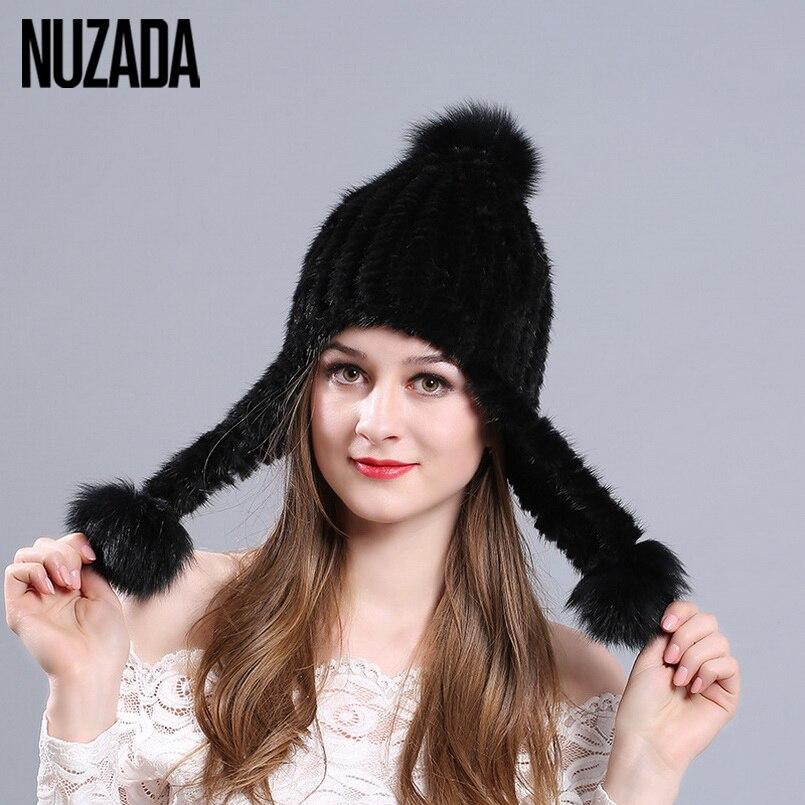 Brand NUZADA Thickening 100% Real Mink Fur Winter Hat Knitted Caps Women Lady Girl Skullies Beanies Ear Female Cap RussianÎäåæäà è àêñåññóàðû<br><br>