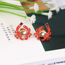 2016 New Arrivals Enamel Glaze Crab Gold Really Plated Earring 925 Salive Needles Women Jewelry For Gift(China)