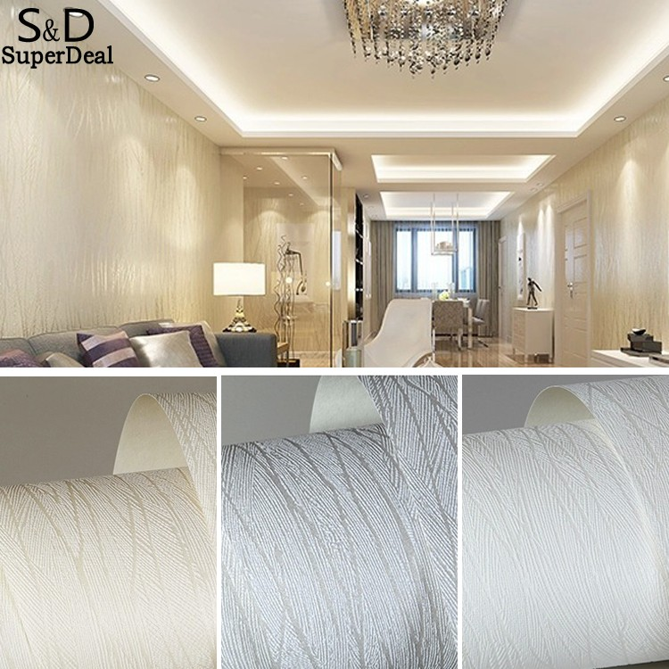 3D Wallpaper 3D Flocking Non-woven Wallpaper Roll,Living Room TV Wall Paper Roll Floral 10M US Warehouse<br>