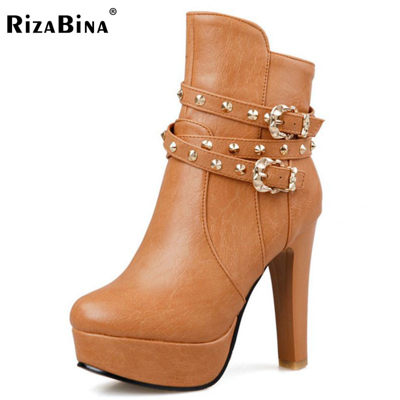RizaBina size 32-43 women round toe high heel half short boot mid calf winter warm platform boot footwear heels shoes P21991<br>