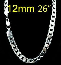 wholesale 925 Sterling Silver 12MM curb Chain NECKLACE FOR MEN 26inch,925 Sterling Silver necklace for men, fashion men jewelry