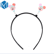 M MISM Cute Girls Headwear Children Hair Accessories Printing Dot Headband Hairband Cartoon Minnie Hairband for Girls Headdress(China)
