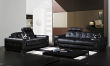 Free Shipping Classic 1 2 3 Black Leather sofa set Top grain leather and solid wood frame, streched headrest sofa set A021(China)