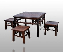 Home Furniture Outdoor Garden Leisure Tea Table 5-pieces Set Dining Desk and Small Stools Living Room Classical Rosewood Antique