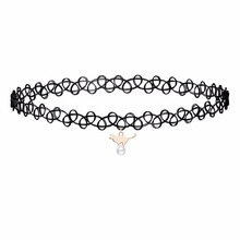 QIMING 2017 New Trend Hot Fashion Jewelry Elegant Black Crochet Cat With Ball Choker Necklace For Women Ladies Girls