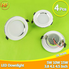 4Pcs Silver White Ultra Bright LED Downlight 5w 10w 15w Thin Round LED Ceiling Recessed Spot Light 85~240v Down Light Cold Warm(China)