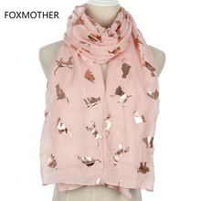 FOXMOTHER New Design Fashion Shiny Foil Gold Metallic Pink Grey Cat Scarf Wrap Shawl For Women(China)