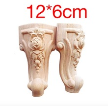 4PCS/LOT 12x6cm European Furniture Foot Carved Wood TV Cabinet Seat Foot Bathroom Cabinet Legs(China)