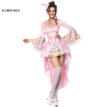 Kimring Sexy Halloween Costume for Women Gothic Versailles Deluxe Vixen Cosplay Pink Cosplay Masquerade Party Costume Dress