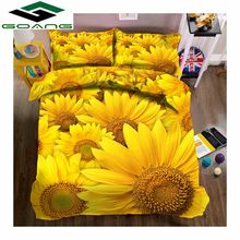 GOANG king size bedding set bed sheet duvet cover pillow case 3d reactive printing sunflower luxury bedding set Home textiles(China)