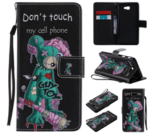 Colorful Pattern One eyed mouse Card Slot Wallet PU Leather Stand Flip Case Cover for Samsung Galaxy J7 Prime Case