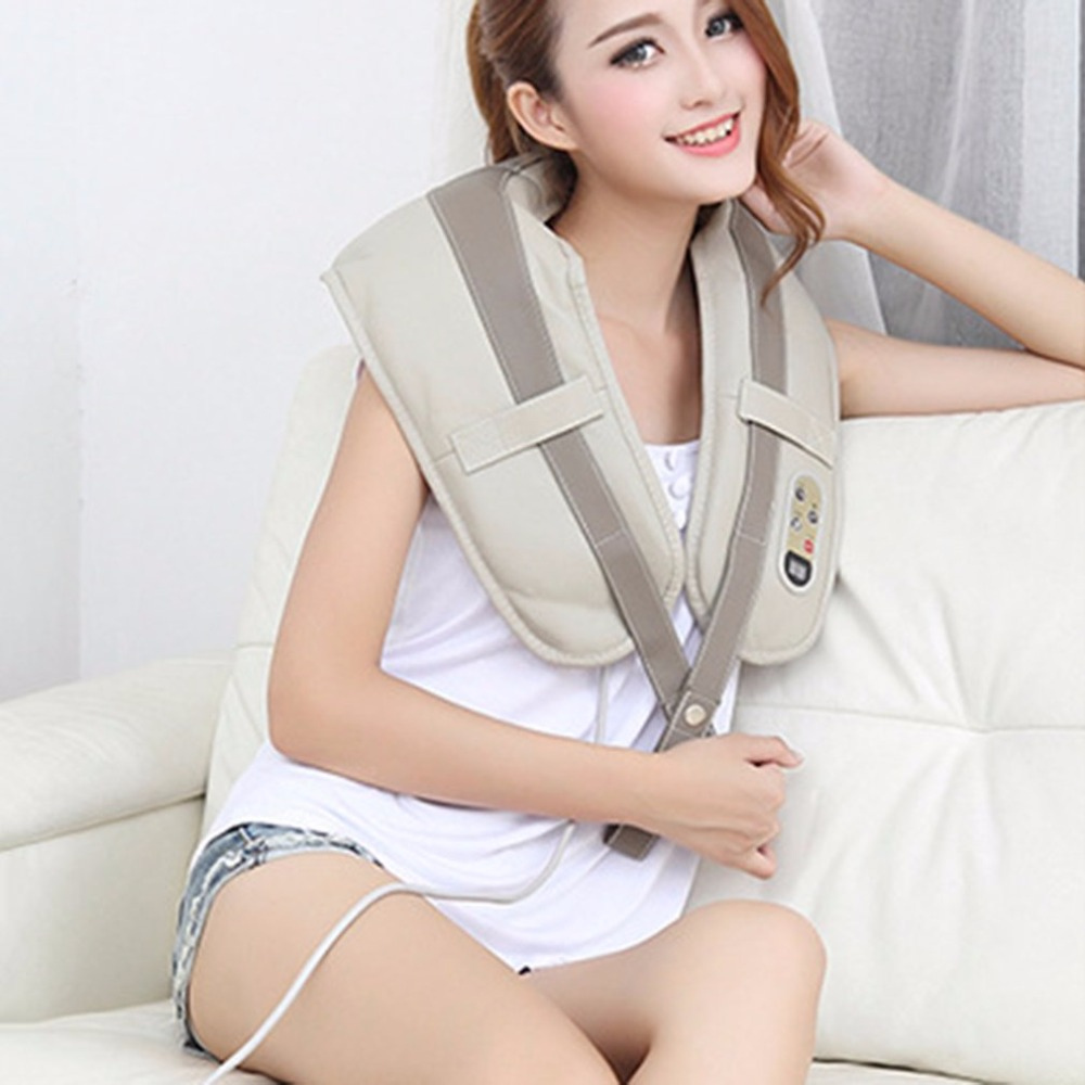 Multifunctional U Shape Electrical Back Neck Shoulder Body Massager PU Leather Comfortable Body Massager Tool Best Gift<br>