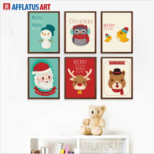 AFFLATUS Modern Canvas Painting Cartoon Bear Elk Penguin Santa Canvas Poster Prints Wall Pictures Kids Room Christmas Decoration
