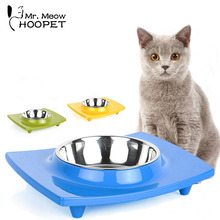Cat Bowl Single Tray High Quality Health Safety Can Be Split Pallets Fall-Prevention Cat Food Or Drink Water Bowl Dish 4Colors(China)