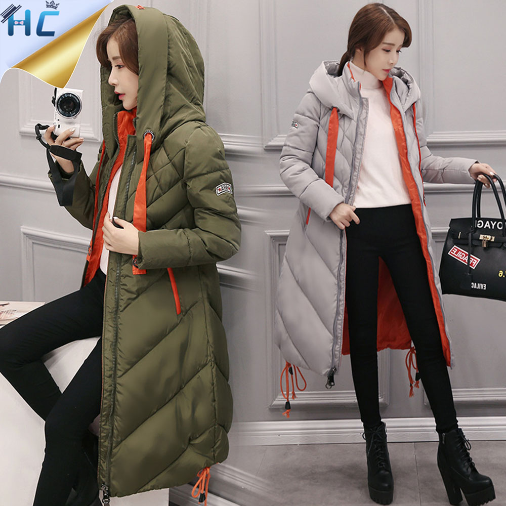 2016 New Top Quality Womens Zipper Grey Cotton Down Coat Female Winter Long Thick Hooded Winter Jacket Women Down Parka ParkerОдежда и ак�е��уары<br><br><br>Aliexpress