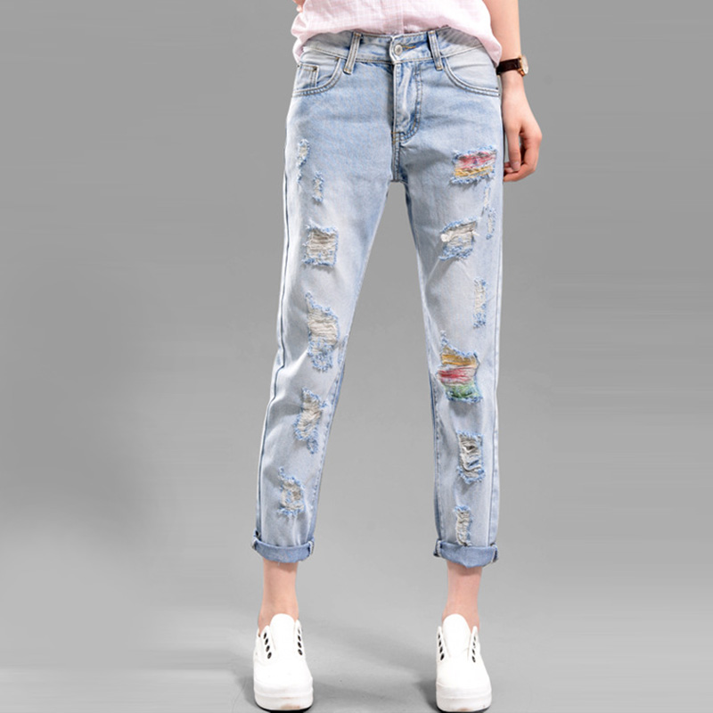 Hole Jeans Women bf Europen Loose Harem Pants 2017 Girls Autumn New Trousers Casual Pants Plus Size Ripped JeansОдежда и ак�е��уары<br><br><br>Aliexpress