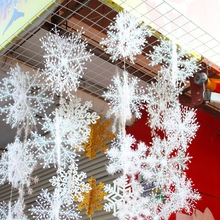 30Pcs/lot Christmas Snow flakes White Snowflake Ornaments Holiday Christmas Tree Decortion Festival Party Home Decor(China)