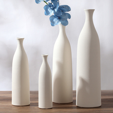 The coffee shop white ceramic creative contracted flower vase pot home decor craft room decoration handicraft porcelain figurine