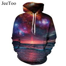 2017 3D Mens Sweatshirt Space Galaxy Print Hooded Hoodies Casual Tracksuits Hoody Sweatshirt Hoodies Hip Hop Coat Sportwear Tops