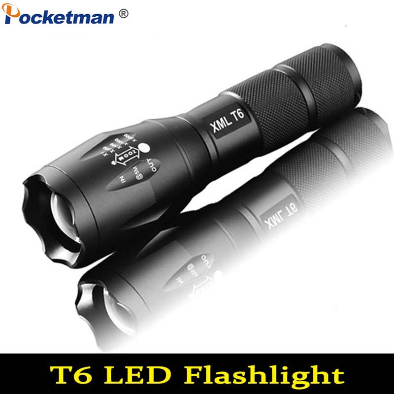 Adjustable 6000 Lumens  XM-L T6 LED Focus Military Flashlight Zoomable Torch