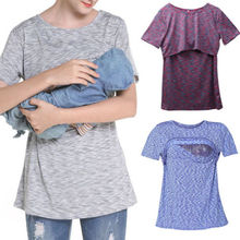 Buy Maternity T-shirts Breastfeeding Clothes Nursing Tops Pregnant Women Short Sleeve Tee Tops Maternity Clothes for $7.09 in AliExpress store