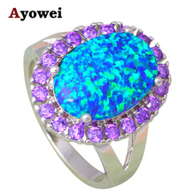 Top Sell  Wholesale Price Classic Blue Fire Opal Silver Stamped Purple Zirconia Fashion Jewelry Rings USA sz #6#7#8#9#10 OR776A