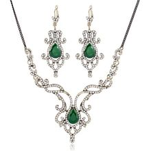 Wedding Jewelry Sets For Brides Vintage Water Drop Turquoise Rhinestone Pendant Necklace Earrings Jewellery Sets Wholesale