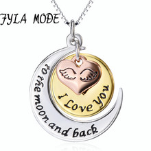 "Sterling Silver New Style Tri Colored Silver with Yellow, Rose Gold Flashed ""I love you to the moon and back"", Pendant Necklace(China)"