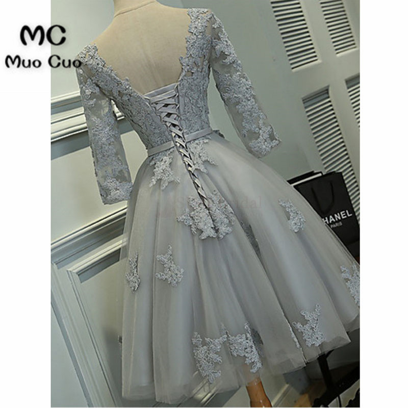 Scoop Knee-length Lace Tulle Ribbon Short Prom Cocktail Homecoming Dresses4