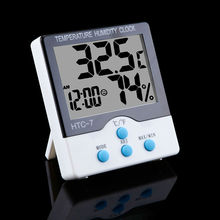 HTC-7 LCD Digital Thermometer Hygrometer Clock Alarm Electronic Temperature Humidity Meter Indoor Weather Station With Stand(China)