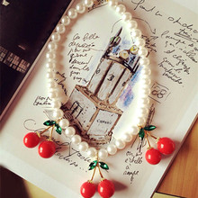 ANL0243, Vivi Magazine Design Imitation Pearl Chain Green Leaves Red cherry pendent necklace Female Accessories(China)
