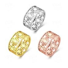 Atreus New Promotional Three Colors Yellow/Rose/White Gold Color Hollow Pattern Flower Women Bridal Engagement Ring Size 7/8(China)