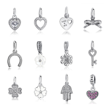 24 Styles Hot Sale 100% 925 Sterling Silver Tiny Heart Charms Pendants Fit Original Pandora Charm Bracelet Genuine Jewelry Gift