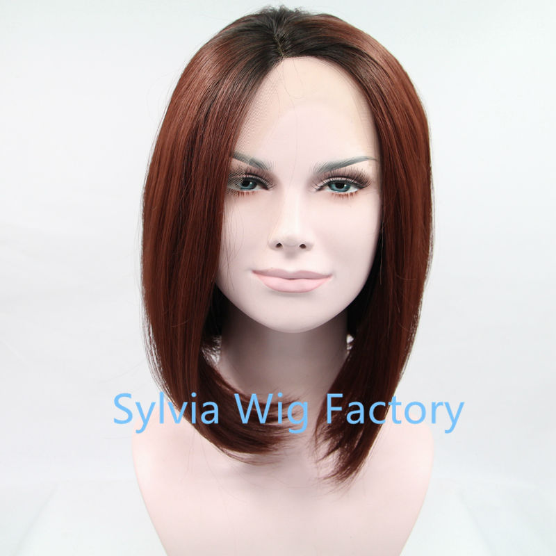 Silky Straight Short Bob Synthetic Lace Front Wig dark root Ombre two tone black /brown Heat Resistant Hair for black Women Wigs<br><br>Aliexpress