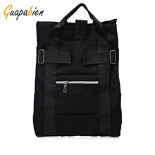 Guapabien School Street Style Stylish Backpack Buckle Embellished Multi Way Canvas Girl Zipper Solid Color Portable Women Bag
