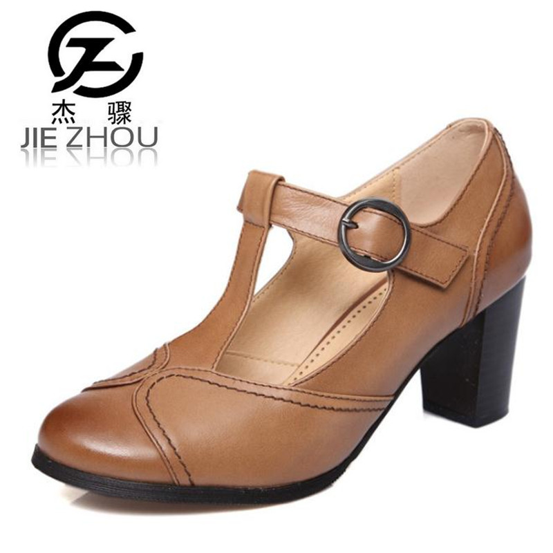 2017 spring summer new retro round head shallow mouth Genuine leather Female high heels Large size Women shoes Mary Jane shoes<br>
