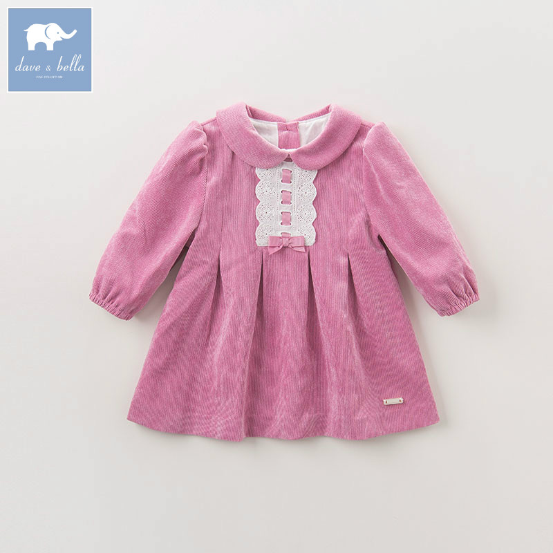 DB5601 dave bella autumn princess baby girls printed dress wedding party birthday clothes children infant toddler clothes<br>