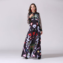 2017 New European Fashion Show Spring Summer Vintage Floral Printed Pleated Dress Long Sleeved Stand Collar Dress(China)