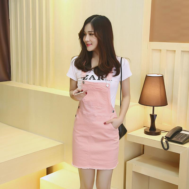 Fairy Dreams Denim Pinafore Mini Women pink Dress 2017 new arrival Summer Dresses Casual Spaghetti Strap Preppy Style clothing(China (Mainland))