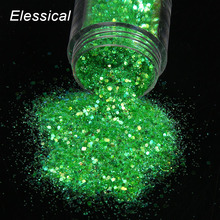 ELESSICAL Holographic Nail Polish Green Hexagon Shape Nail Glitters Dust Powder Manicure Tools Nail Art Paillette Tips WY830(China)
