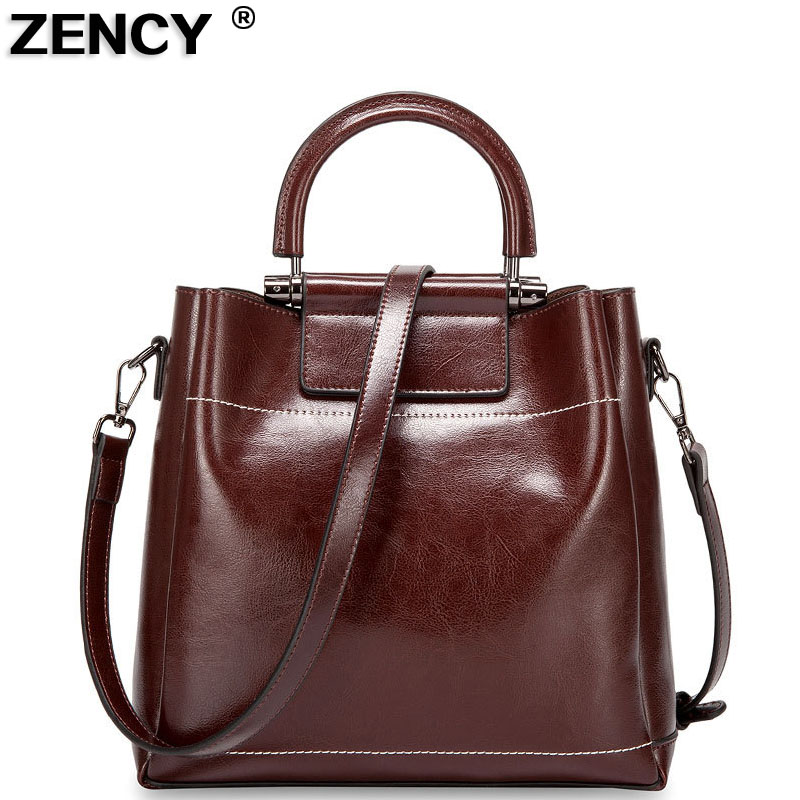 ZENCY Vintage Genuine Oil Wax Cow Leather Women's Handbag Shoulder/Messenger Cowhide Shopping Handle Bags Satchel