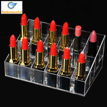 24 Lipstick Holder Organizer Display Stand for Cosmetics Jewelry Display Box Rangement Maquillage Acrylic Makeup Organizer