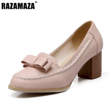 RAZAMAZA Size 32-45 Laies Pumps Round Toe Square Heel Bowtie Bowknot Flower Women High Heel Shoes  Wedding Fashion Footwear