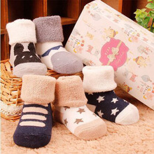 DreamShining Winter Warm Baby Socks Anti Slip Newborn Sock 0-3 Years Soft Cotton Sock Cute Cartoon Boy Girl Socks Accessories