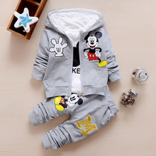 2017 New Chidren Kids Boys Clothing Set Autumn Winter 3 Piece Sets Hooded Coat Suits Fall Cotton Baby Boys Clothes Mickey