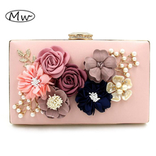 2017 New 7 Colors Handmade Fabric Flowers Evening Bag Luxury Wedding Bride Clutch Bag Pearl Party Handbag Mini Purses Wallet