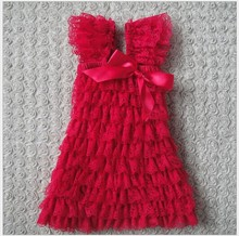 new2014Baby Summer Hot sell baby dress kids wear girls' red cutecute baby dresses Princess dress kids clothing lace Dresses