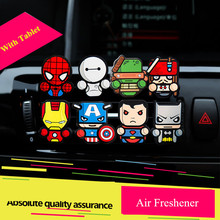 1PC Car Perfume Air Freshener Vent Outlet Clip Cartoon Auto Air Vent Solid Fragrance The Avengers Star Wars Air Conditioner(China)